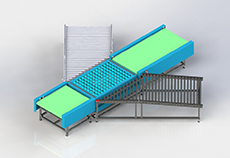 Simple inclined wheel sorting line